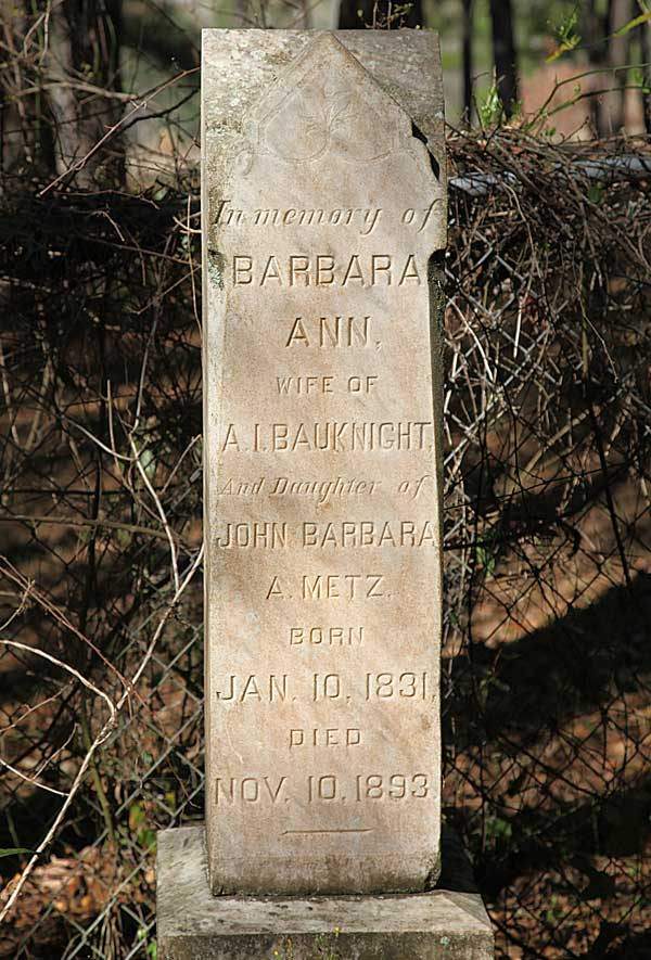 Barbara Ann Bauknight Gravestone Photo