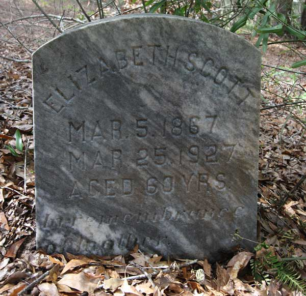 Elizabeth Scott Gravestone Photo