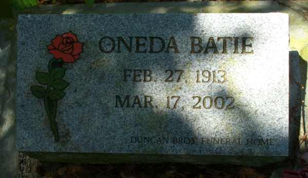 Oneda Batie Gravestone Photo
