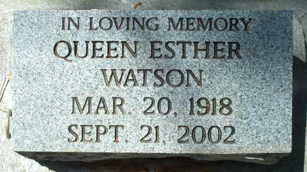 Queen Esther Watson Gravestone Photo