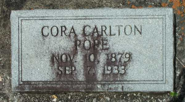 Cora Carlton Pope Gravestone Photo