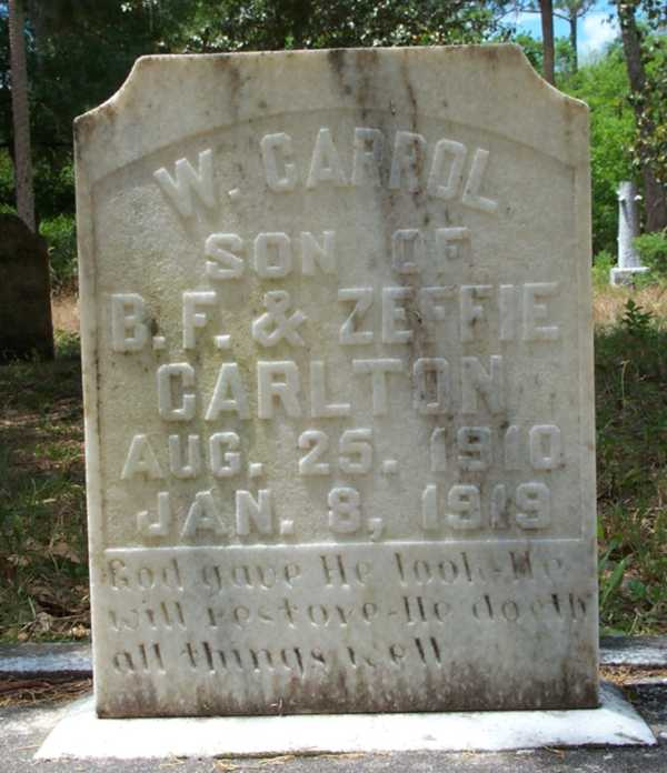 W. Carrol Carlton Gravestone Photo