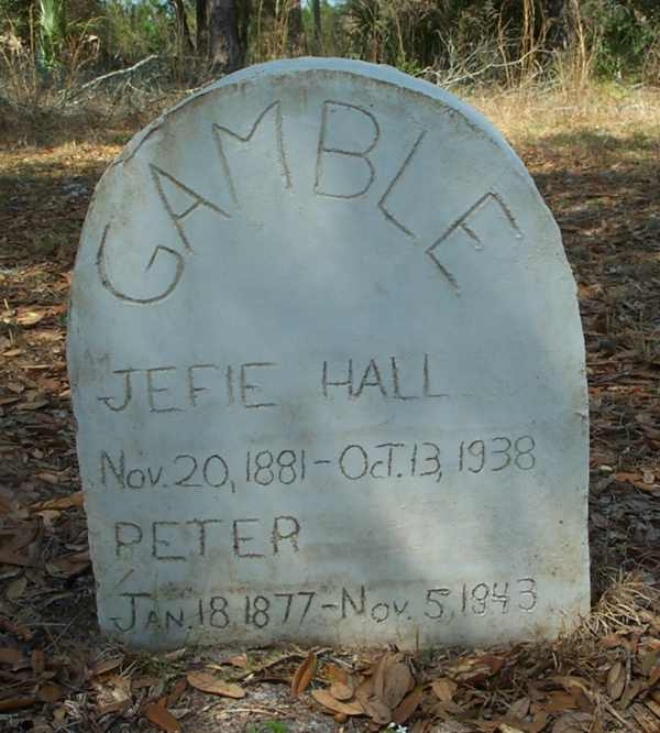 Jefie Hall & Peter Gamble  Gravestone Photo