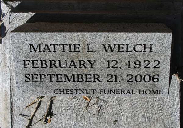 MATTIE L. WELCH Gravestone Photo