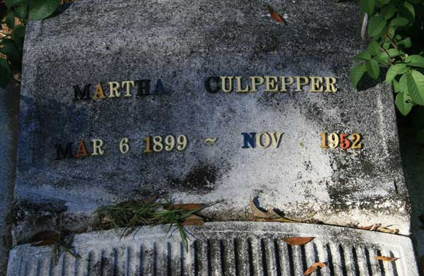 MARTHA CULPERRER Gravestone Photo