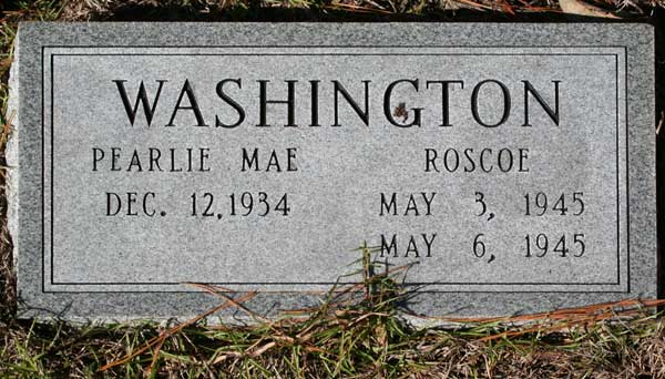 PEARLIE MAE & ROSCOE WASHINGTON Gravestone Photo