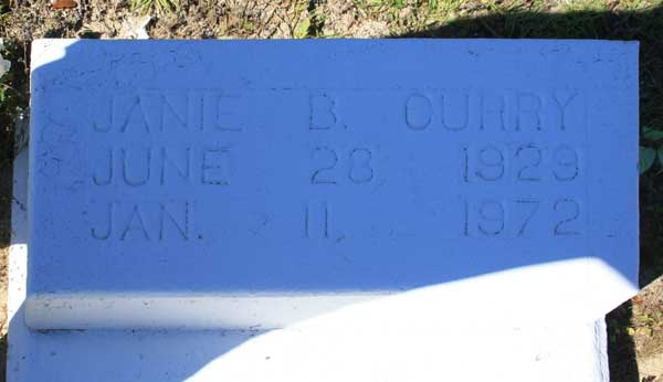 JANIE B. CURRY Gravestone Photo