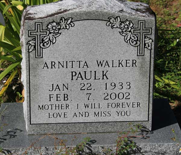 ARNITTA WALKER PAULK Gravestone Photo