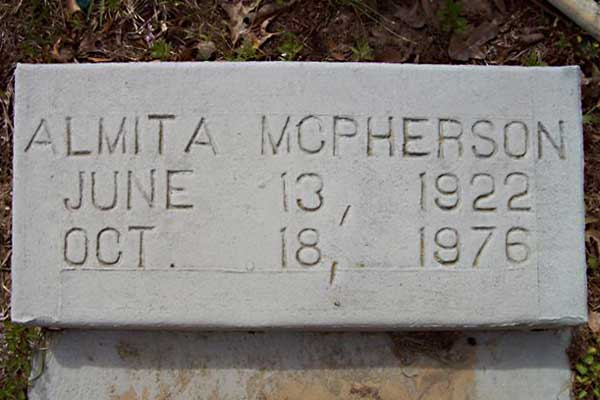 Almita McPherson Gravestone Photo