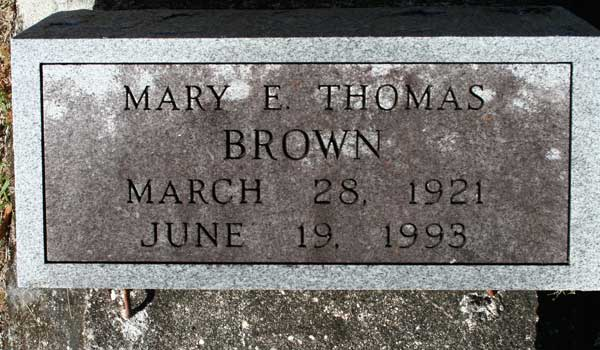 MARY E. MARKS THOMAS BROWN Gravestone Photo