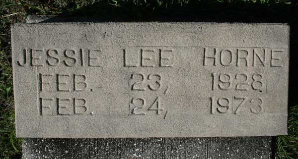 JESSIE LEE HORNE Gravestone Photo