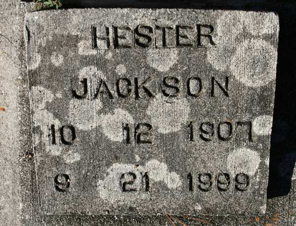 HESTER JACKSON Gravestone Photo