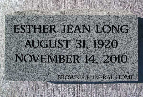 ESTHER JEAN LONG Gravestone Photo