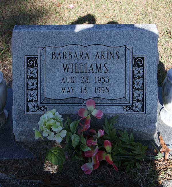 Barbara Akins Williams Gravestone Photo