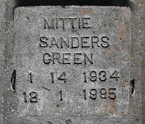 Mittie Sanders Green Gravestone Photo
