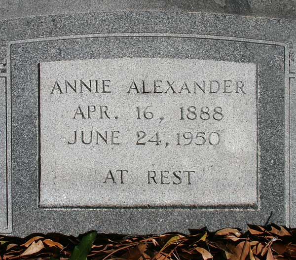 Annie Alexander Gravestone Photo