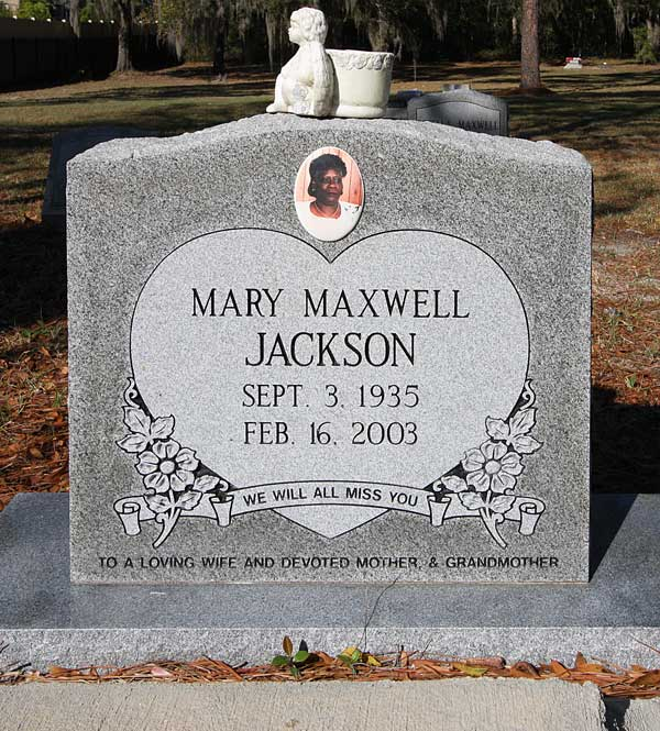 Mary Maxwell Jackson Gravestone Photo