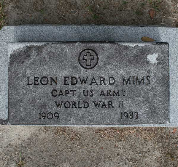 Leon Edward Mims Gravestone Photo