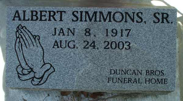 Albert Simmons Gravestone Photo