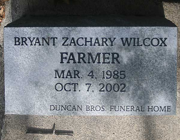 Bryant Zachary Wilcox Farmer Gravestone Photo