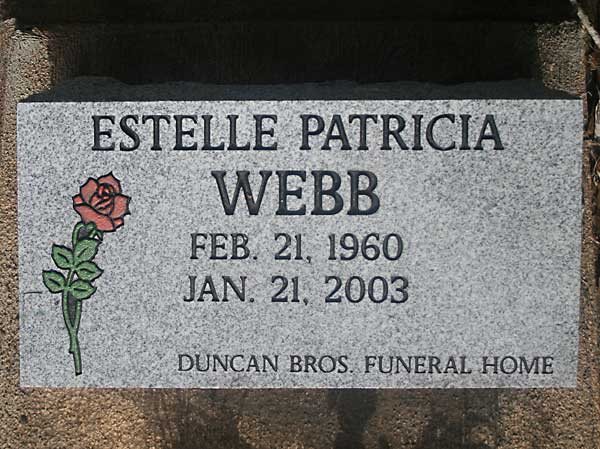 Estelle Patricia Webb Gravestone Photo