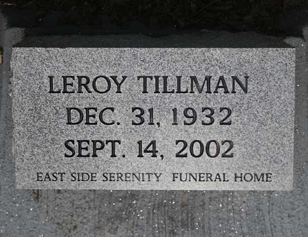Leroy Tillman Gravestone Photo
