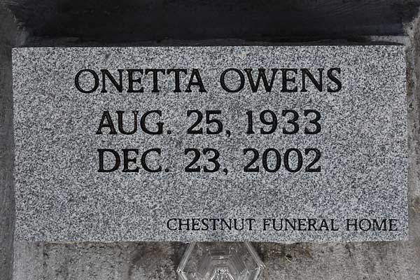 Onetta Owens Gravestone Photo