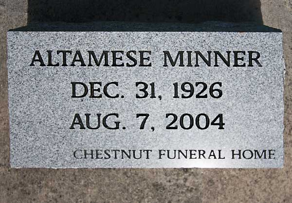 Altamese Minner Gravestone Photo