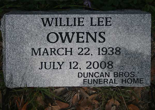 Willie Lee Owens Gravestone Photo