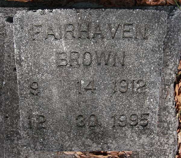 Fairhaven Brown Gravestone Photo