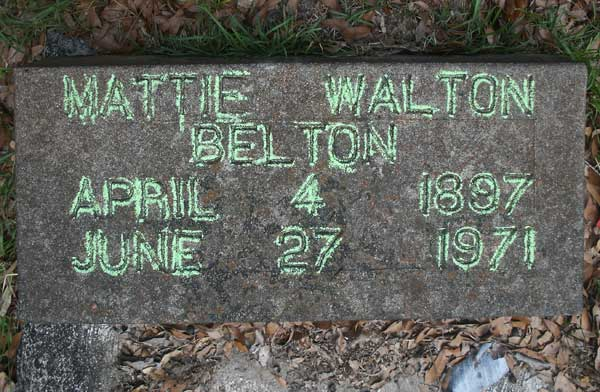 Mattie Walton Belton Gravestone Photo