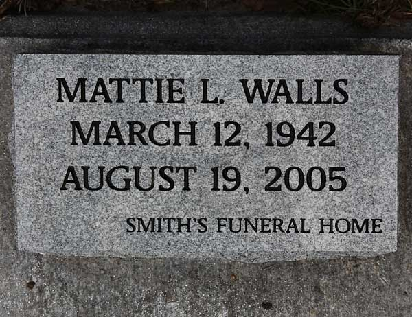 Mattie L. Walls Gravestone Photo