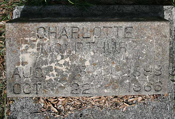 Charlotte McArthur Gravestone Photo