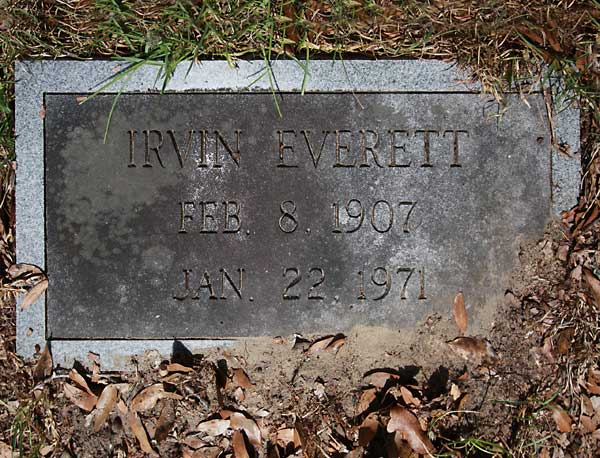 Irvin Everett Gravestone Photo