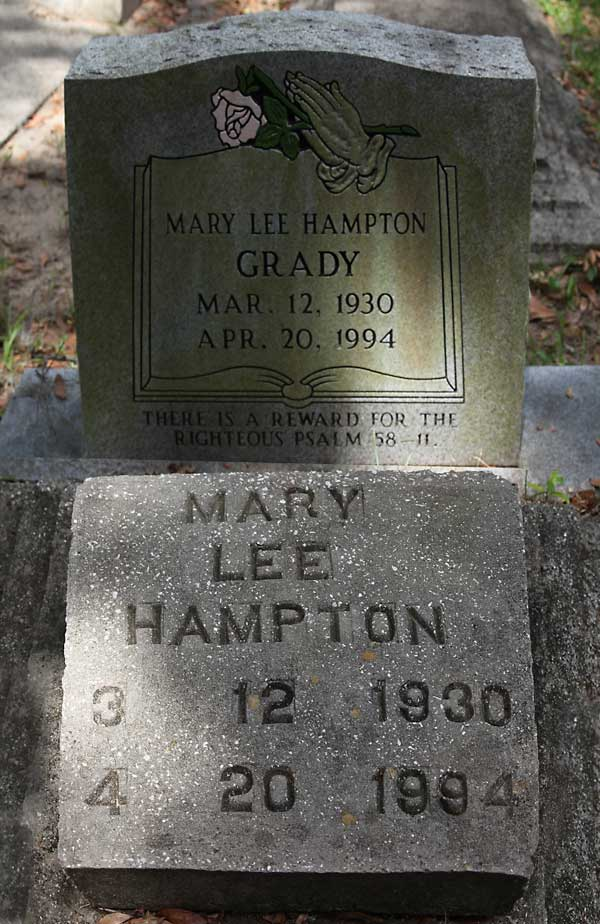 Mary Lee Hampton Grady Gravestone Photo