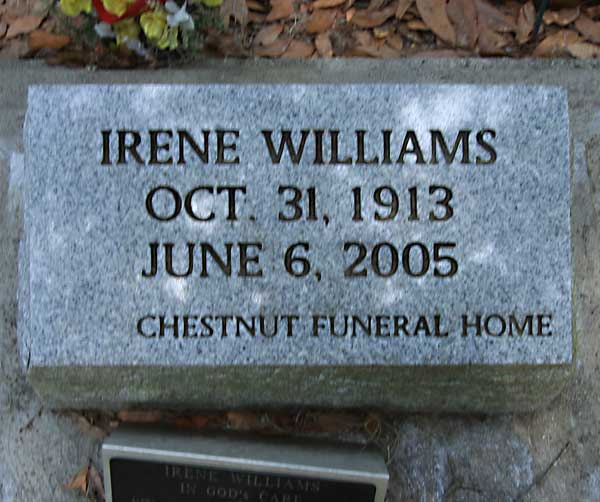 Irene Williams Gravestone Photo