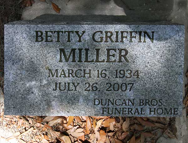 Betty Griffin Miller Gravestone Photo