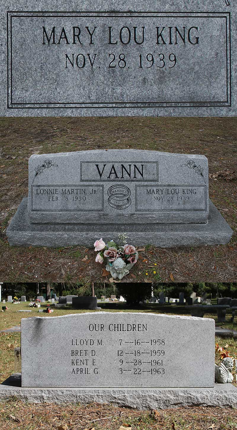 Mary Lou King Vann Gravestone Photo