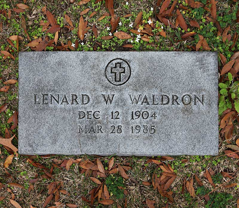Lenard W Waldron Gravestone Photo