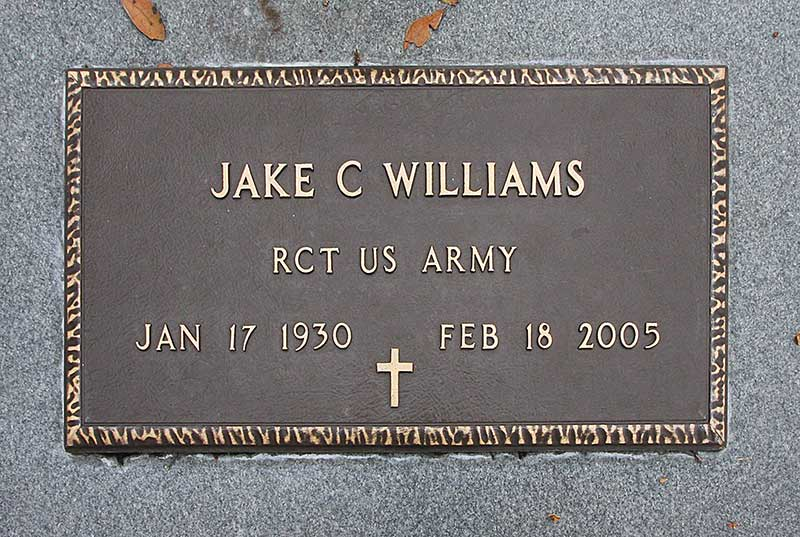 Jake C Williams Gravestone Photo