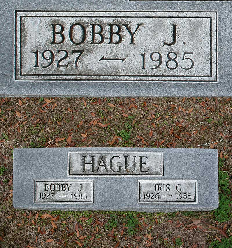 Bobby J. Hague Gravestone Photo