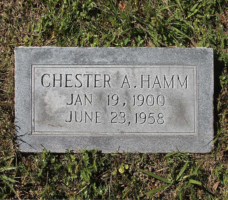 Chester A Hamm Gravestone Photo