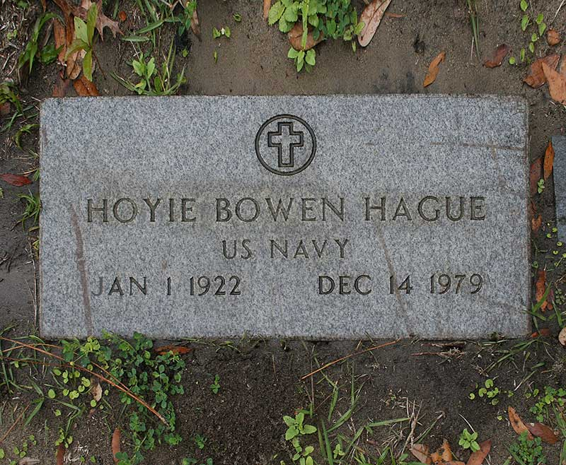 Hoyie Bowen Hague Gravestone Photo