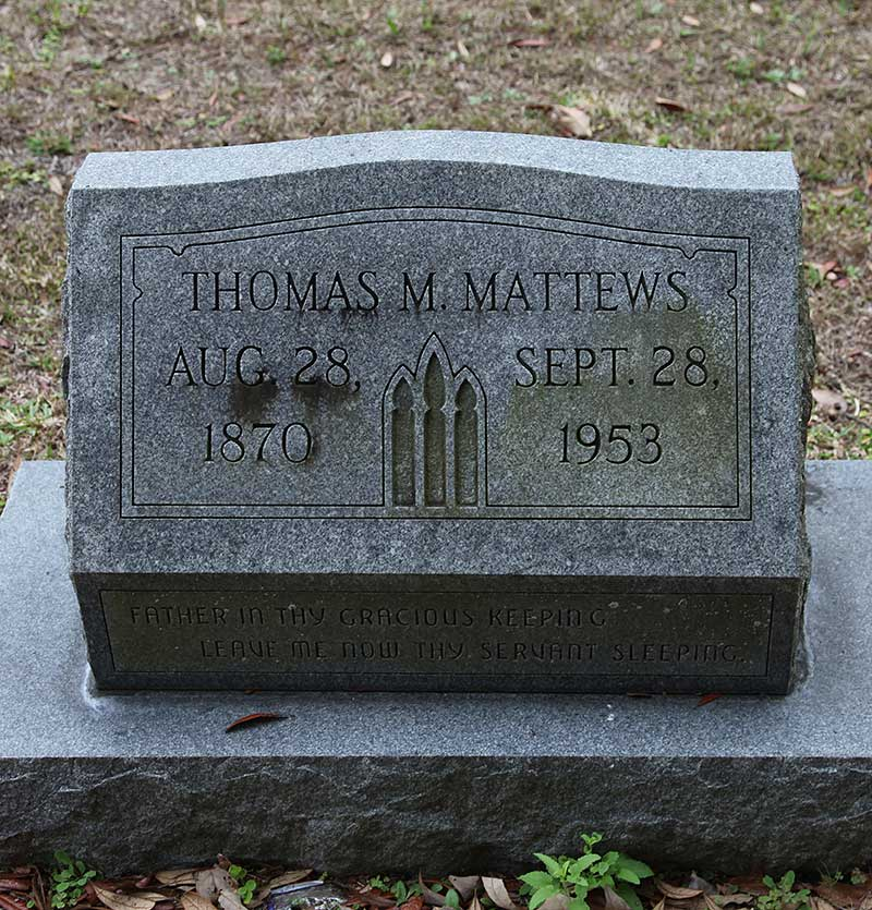 Thomas M Mattews Gravestone Photo