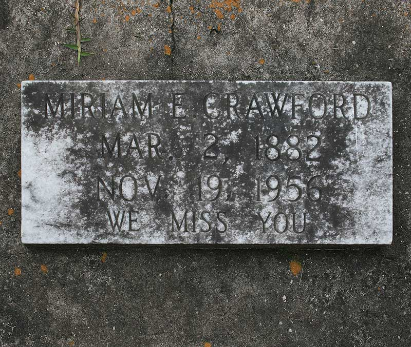 Miriam E Crawford Gravestone Photo