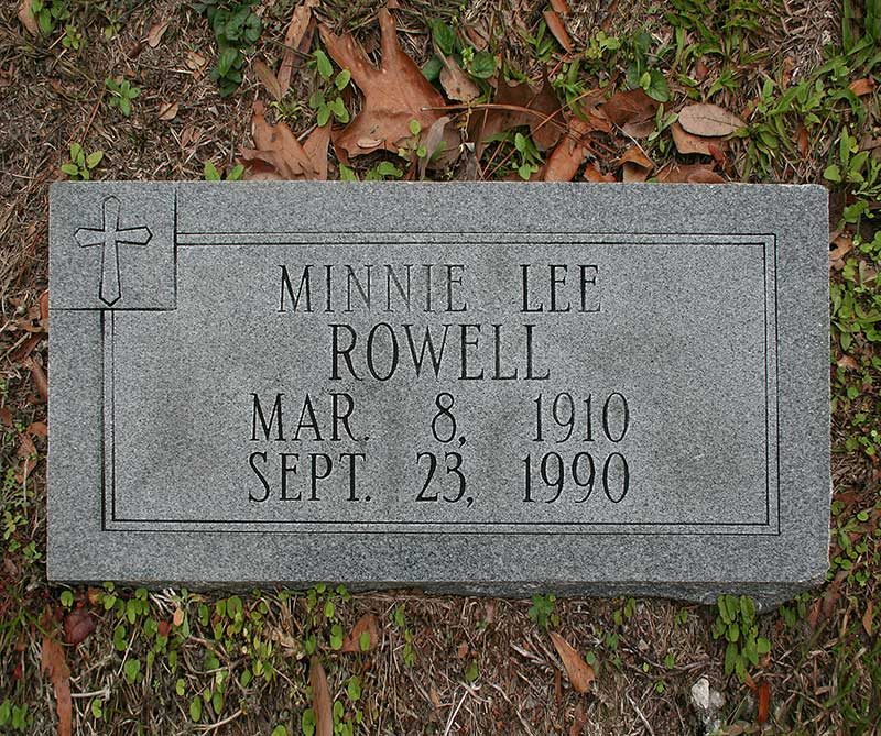 Minnie Lee Rowell Gravestone Photo