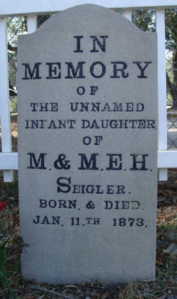 Unamed Infant Daughter Seigler Gravestone Photo