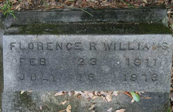 Florence R. Williams Gravestone Photo