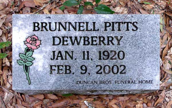 Brunnell Pitts Dewberry Gravestone Photo