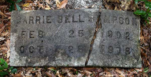 Carrie Bell Simpson Gravestone Photo